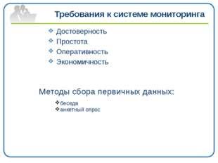 Требования к системе мониторинга Достоверность Простота Оперативность Эконом