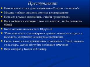 Преступления: Иван исписал стены дома надписями «Спартак – чемпион!» Михаил
