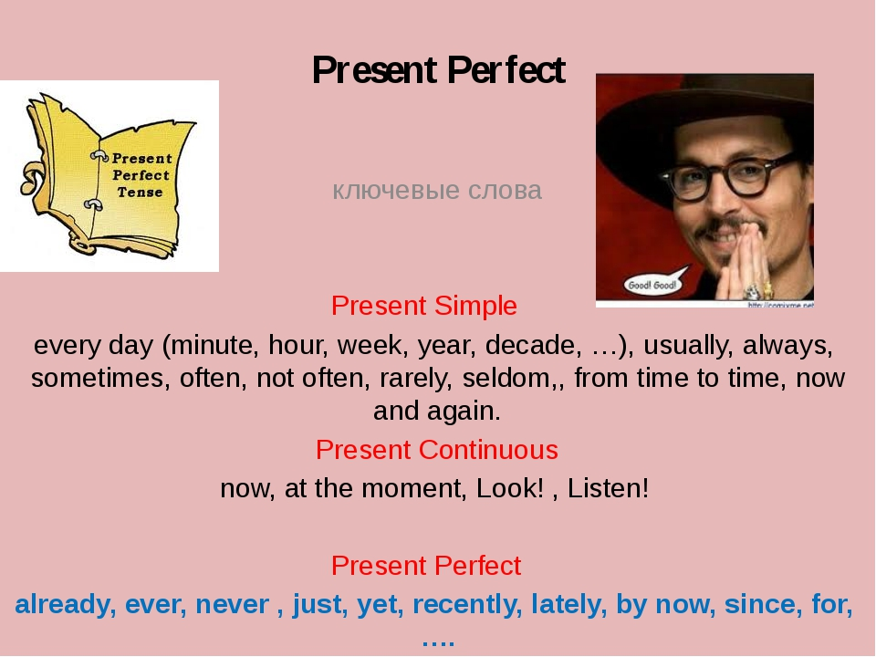 Present Perfect 	 ключевые слова Present Simple	 every day (minute, hour, wee...