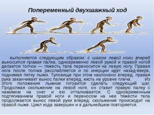 Попеременный двухшажный ход выполняется следующим образом: с шагом левой ног