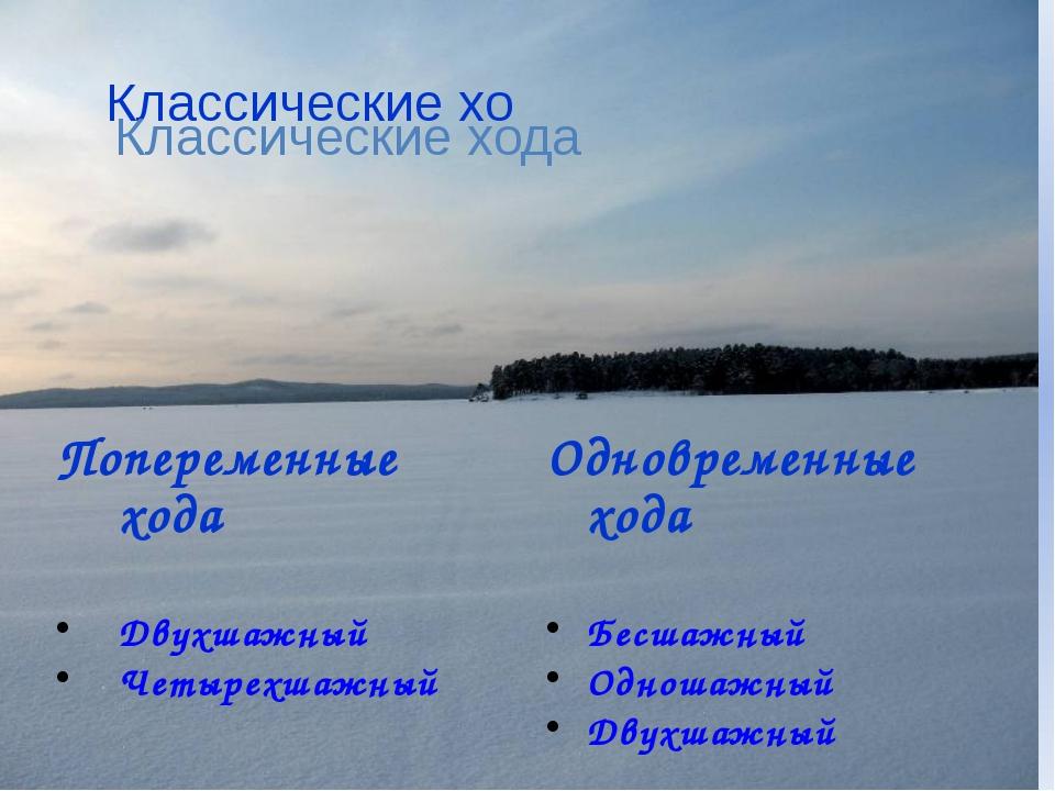 Попеременные хода Двухшажный Четырехшажный Одновременные хода Бесшажный Одно...