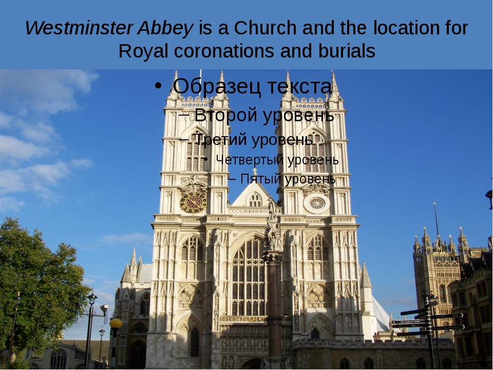 Westminster Abbey is a Church and the location for Royal coronations and buri...