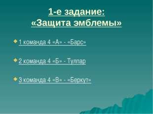 1 команда 4 «А» - «Барс» 2 команда 4 «Б» - Тулпар 3 команда 4 «В» - «Беркут»