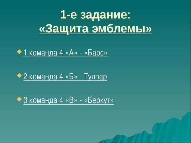 1 команда 4 «А» - «Барс» 2 команда 4 «Б» - Тулпар 3 команда 4 «В» - «Беркут»...