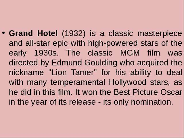 Grand Hotel (1932) is a classic masterpiece and all-star epic with high-powe...