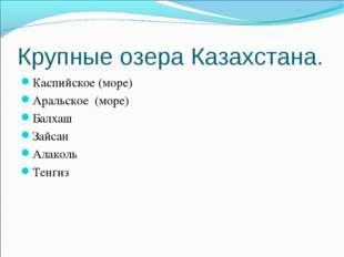 Крупные озера Казахстана. Каспийское (море) Аральское (море) Балхаш Зайсан Ал