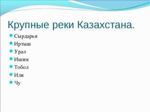 Крупные реки Казахстана. Сырдарья Иртыш Урал Ишим Тобол Или Чу