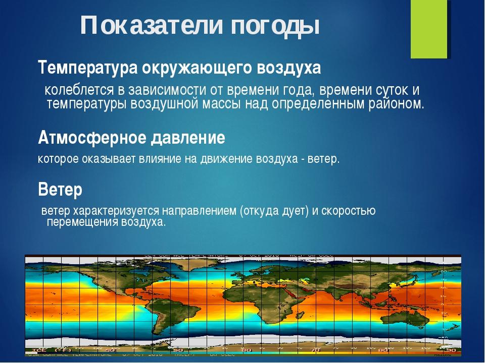 Показатели погоды Температура окружающего воздуха колеблется в зависимости от...