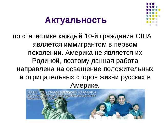 Актуальность по статистике каждый 10-й гражданин США является иммигрантом в п...
