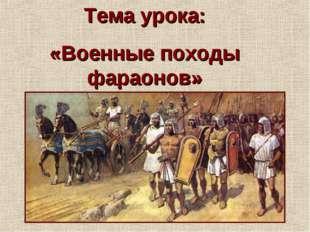 Тема урока: «Военные походы фараонов»