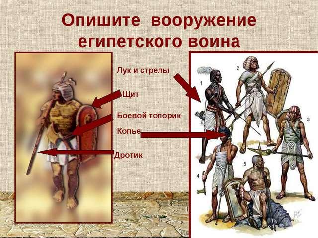Опишите вооружение египетского воина Лук и стрелы Боевой топорик Копье Дротик...