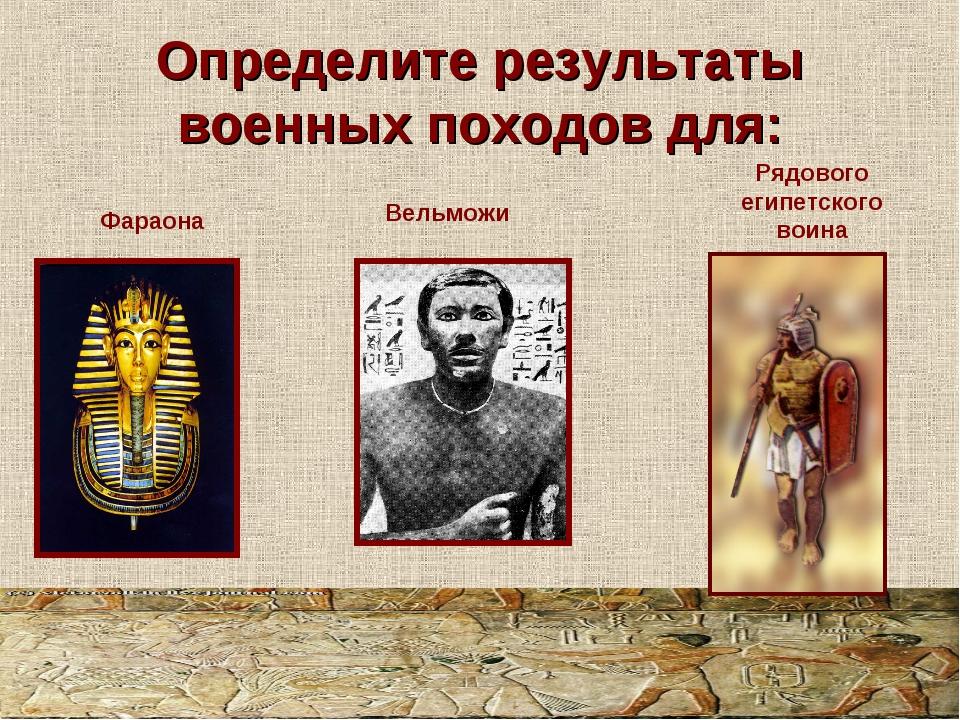 Определите результаты военных походов для: Рядового египетского воина Фараона...