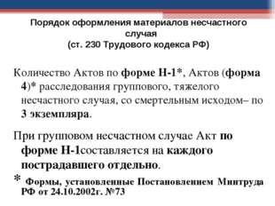 Порядок оформления материалов несчастного случая (ст. 230 Трудового кодекса Р