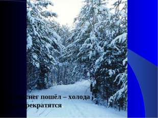 Густой снег пошёл – холода скоро прекратятся.