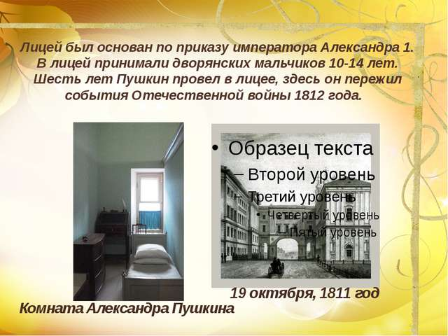 Лицей был основан по приказу императора Александра 1. В лицей принимали дворя...