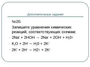 Дополнительные задания №20. Запишите уравнения химических реакций, соответс