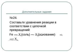 Дополнительные задания №24. Составьте уравнения реакции в соответствии с це
