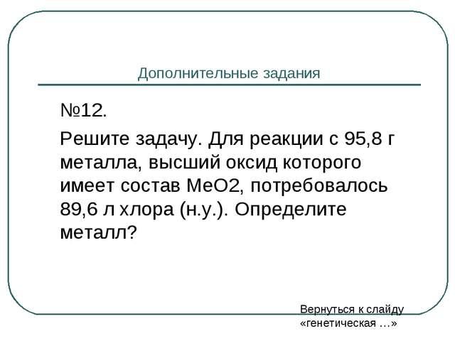 Дополнительные задания №12. Решите задачу. Для реакции с 95,8 г металла, вы...