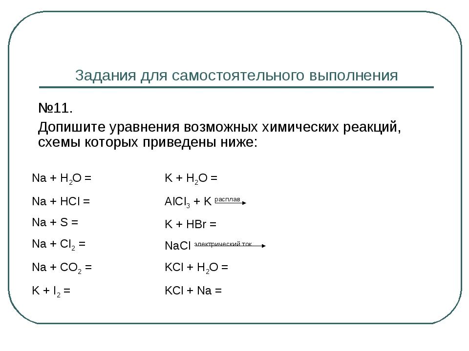 Задания для самостоятельного выполнения №11. Допишите уравнения возможных х...