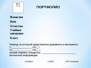 фото 4 х 6 ПОРТФОЛИО Период, за который представлены документы и материалы: С