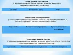 Общее среднее образование (в обратном хронологическом порядке, начиная с посл