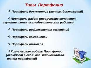 Типы Портфолио Портфель документов (личных достижений) Портфель работ (творче