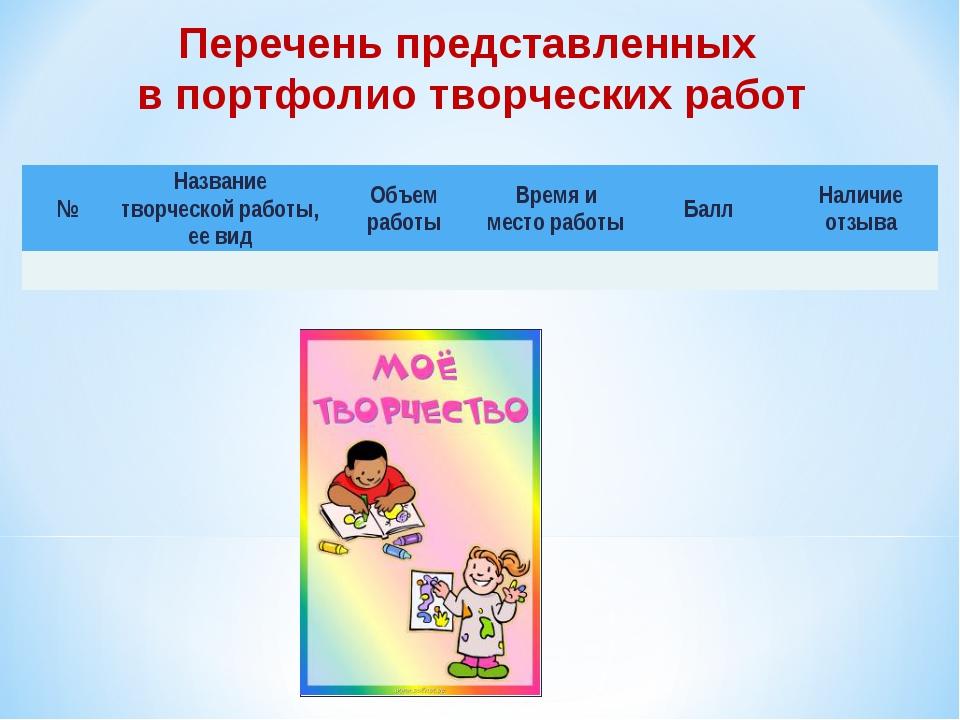 Перечень представленных в портфолио творческих работ №Название творческой ра...