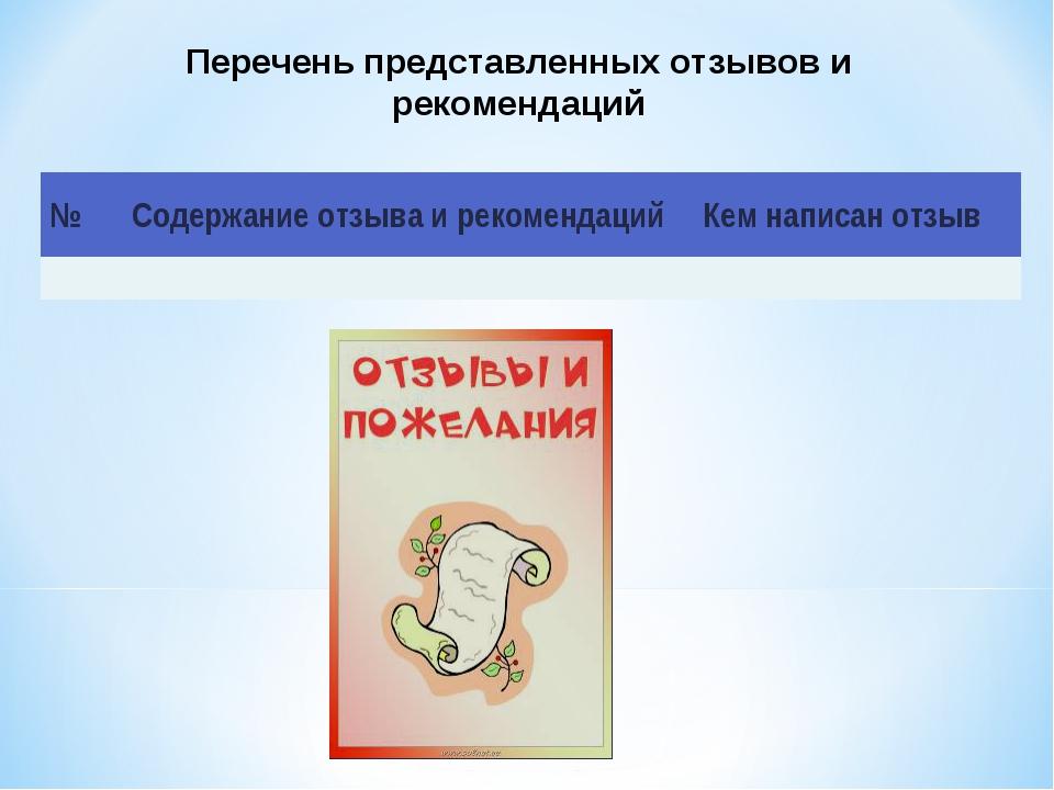 Перечень представленных отзывов и рекомендаций №Содержание отзыва и рекоменд...
