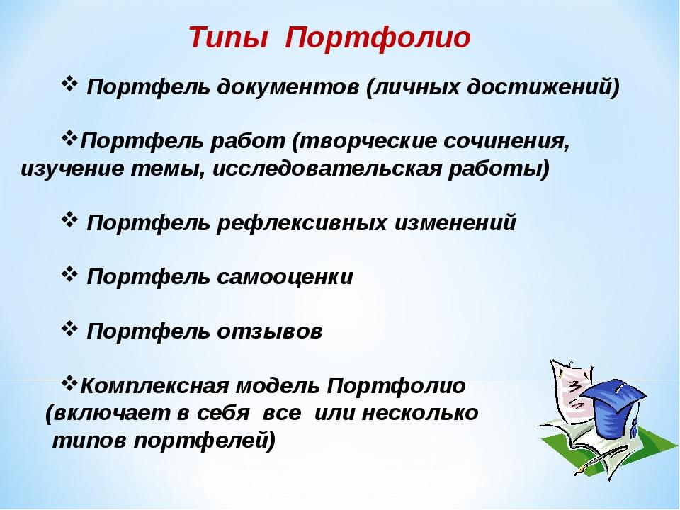 Типы Портфолио Портфель документов (личных достижений) Портфель работ (творче...