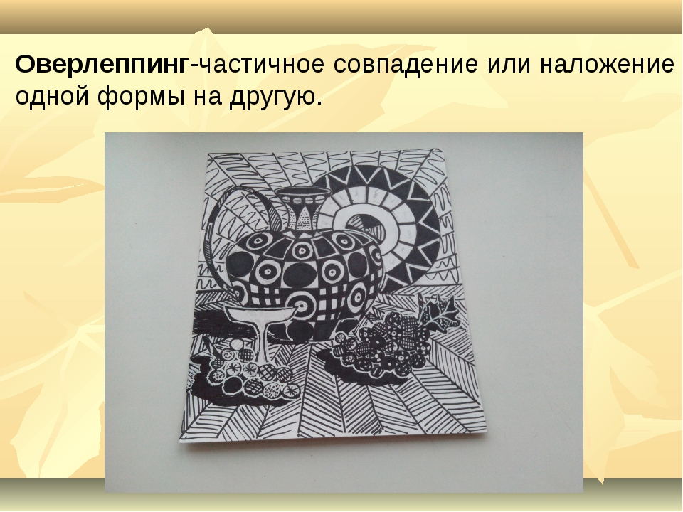 Оверлеппинг-частичное совпадение или наложение одной формы на другую.
