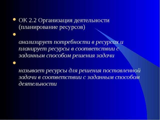 ОК 2.2 Организация деятельности (планирование ресурсов) анализирует потребнос...