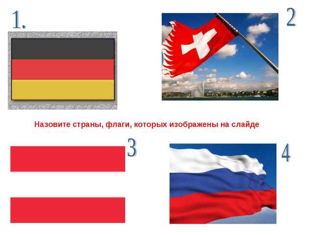 Назовите страны, флаги, которых изображены на слайде