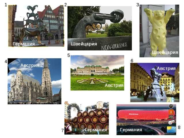 1 2 3 4 5 6 7 8 Германия Австрия Швейцария Австрия Швейцария Австрия Германия...