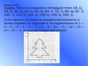 Учебник стр 33 Пример. Известны координаты пятнадцати точек: 1(4, 1), 2(4, 2)