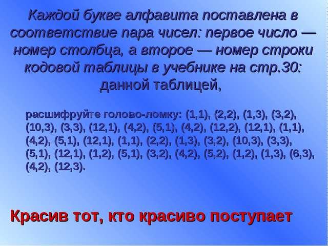Каждой букве алфавита поставлена в соответствие пара чисел: первое число — но...