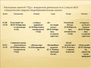 Расписание занятий ГПД и внеурочной деятельности в 1 классе МОУ «Чернухинская