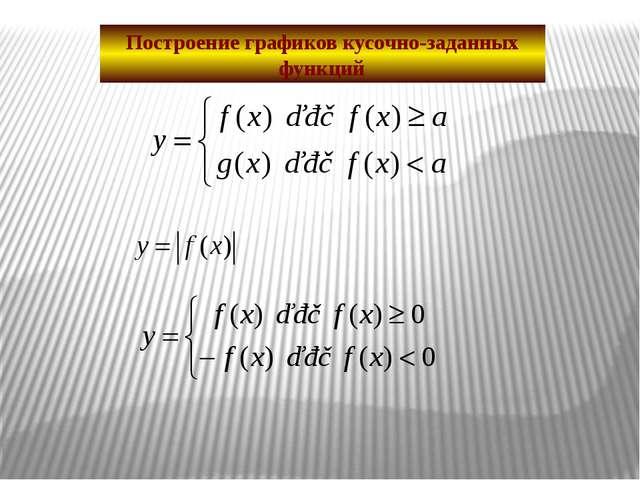 Построение графиков кусочно-заданных функций