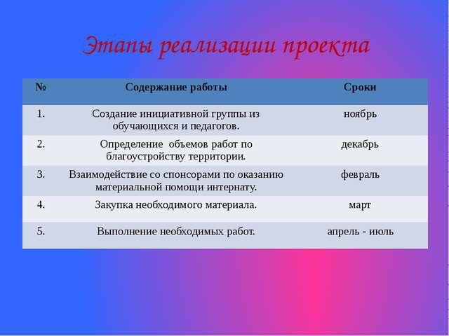 Этапы реализации проекта № Содержаниеработы Сроки 1. Создание инициативной гр...