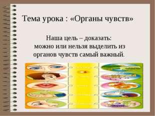 Тема урока : «Органы чувств» Наша цель – доказать: можно или нельзя выделить