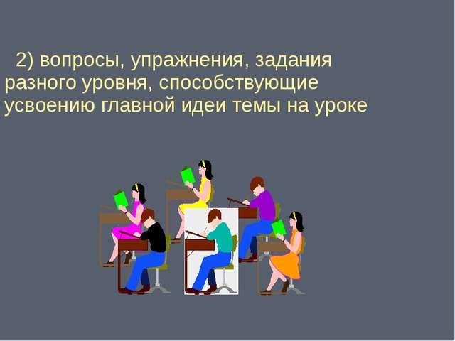 2) вопросы, упражнения, задания разного уровня, способствующие усвоению глав...