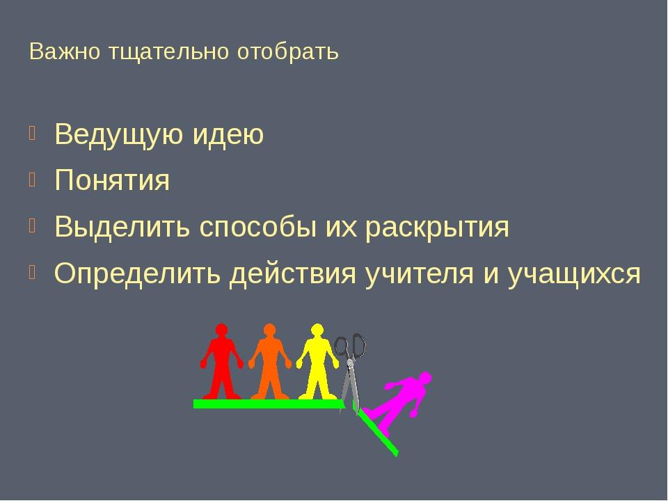 Важно тщательно отобрать Ведущую идею Понятия Выделить способы их раскрытия О...