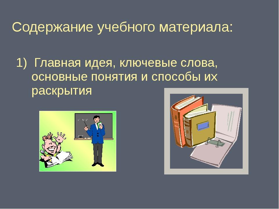 Содержание учебного материала: 1) Главная идея, ключевые слова, основные поня...