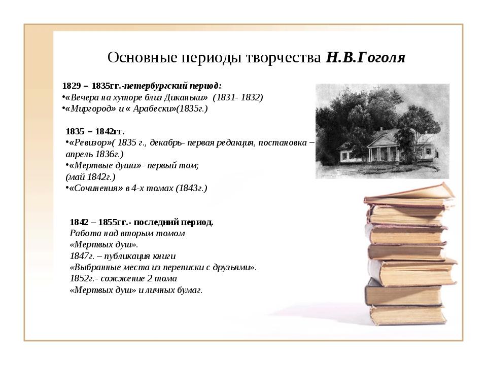 Основные периоды творчества Н.В.Гоголя 1829 – 1835гг.-петербургский период: «...