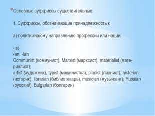 Основные суффиксы существительных: 1. Суффиксы, обозначающие принадлежность к