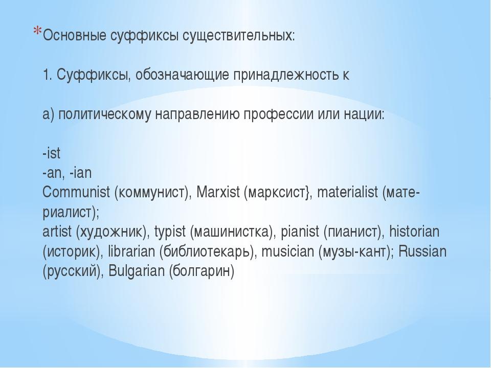 Основные суффиксы существительных: 1. Суффиксы, обозначающие принадлежность к...