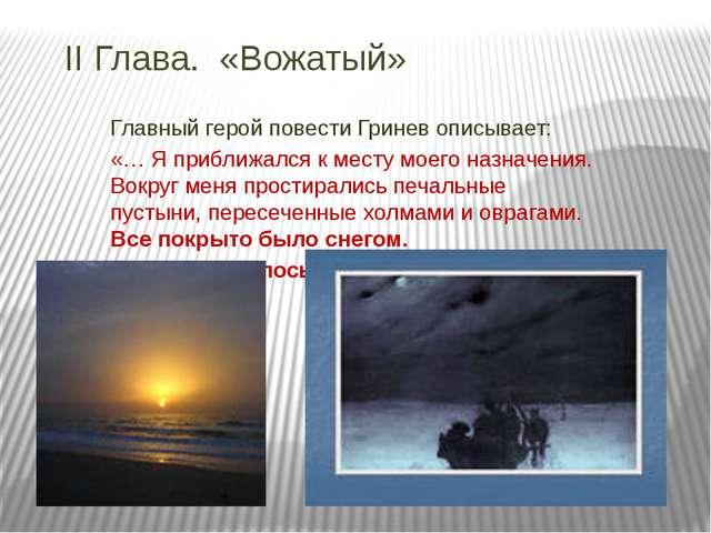 II Глава. «Вожатый» Главный герой повести Гринев описывает: «… Я приближался...
