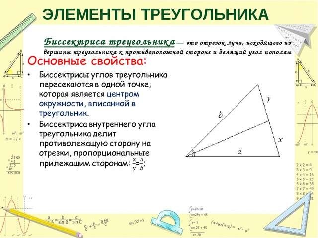 Биссектриса треугольника — это отрезок луча, исходящего из вершины треугольни...