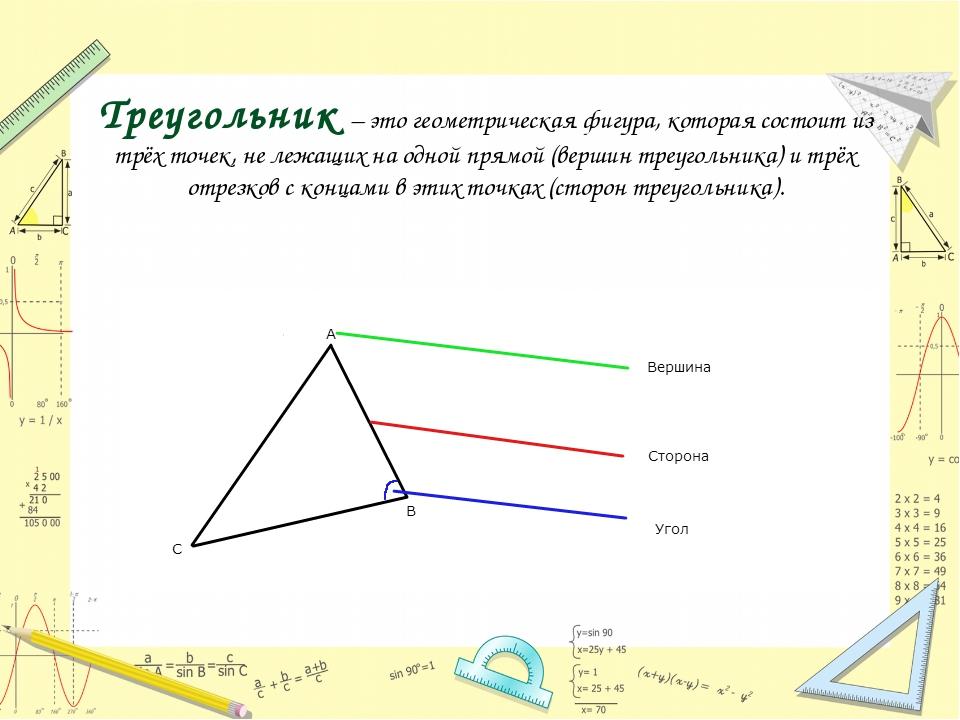 Треугольник – это геометрическая фигура, которая состоит из трёх точек, не ле...