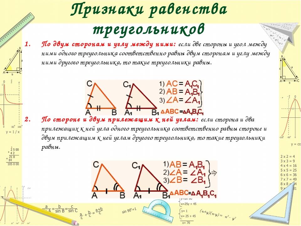 Признаки равенства треугольников По двум сторонам и углу между ними: если две...
