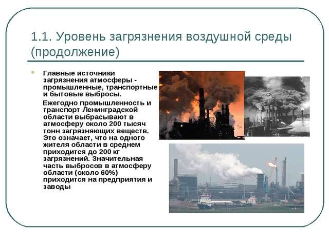 1.1. Уровень загрязнения воздушной среды (продолжение) Главные источники загр...